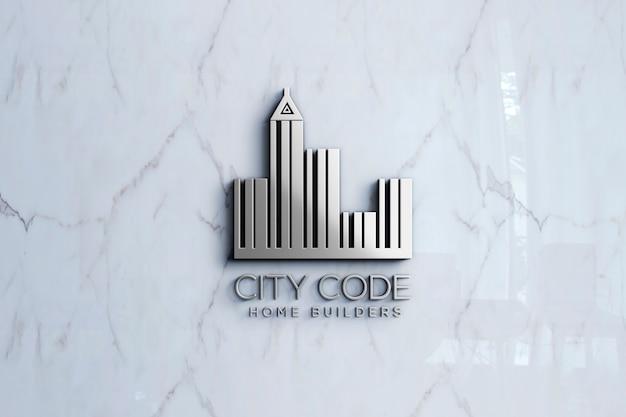 3d logo mockup on marble wall Premium Psd