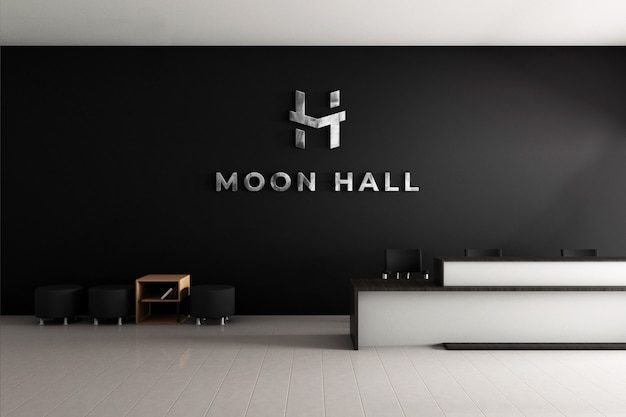 3d logo mockup office wall with realistic steel texture Premium Psd