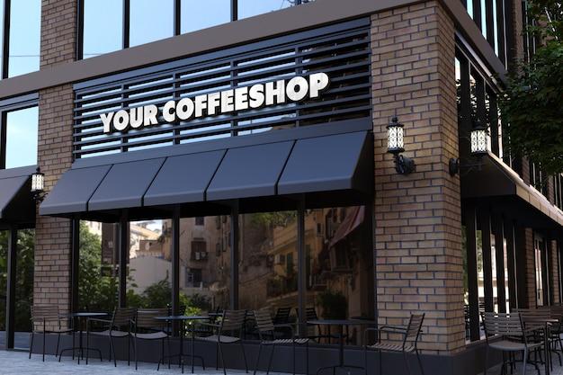 커피 숍 외관 기호에 3d 로고 모형 프리미엄 PSD 파일