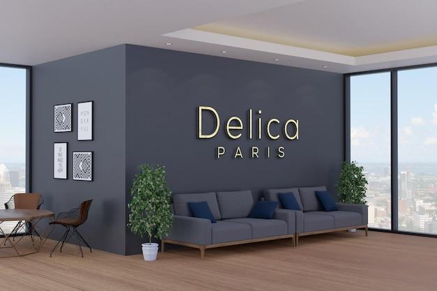 현대 사무실 벽에 3d 로고 모형 프리미엄 PSD 파일