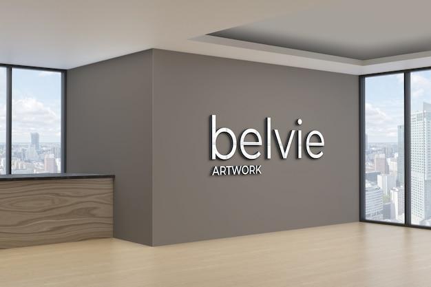 사무실 벽에 3d 로고 모형 프리미엄 PSD 파일
