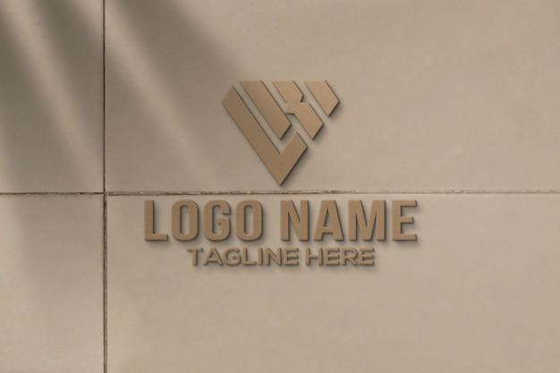 벽에 3d 로고 모형 프리미엄 PSD 파일