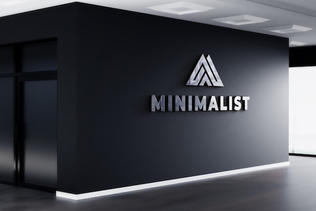 3d 로고 모형 현실적인 서명 사무실 검은 벽 프리미엄 PSD 파일