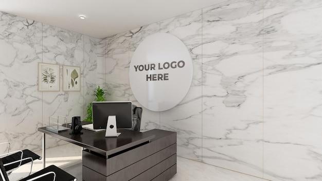 3d 로고 모형 현실적인 기호 사무실 흰 벽 프리미엄 PSD 파일