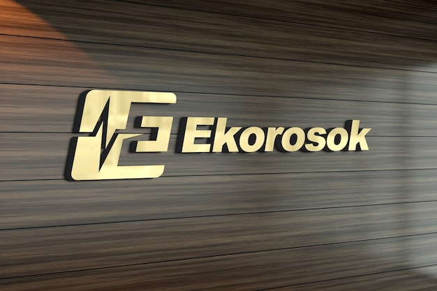 Premium PSD   3d logo mockup on a wood patterned wall