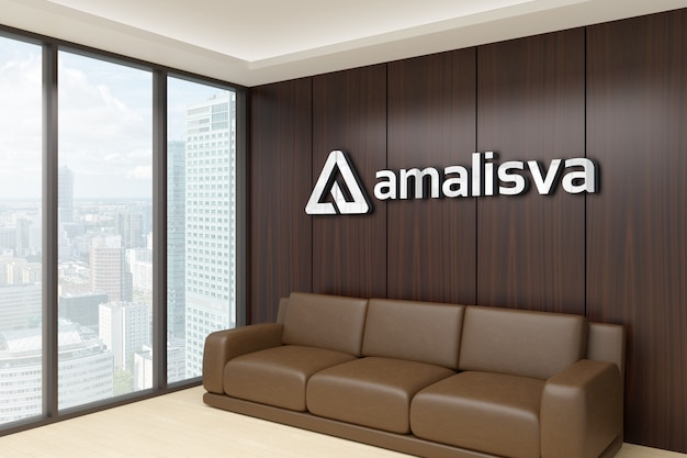 3d logo mockup on a wooden wall in a room Premium Psd