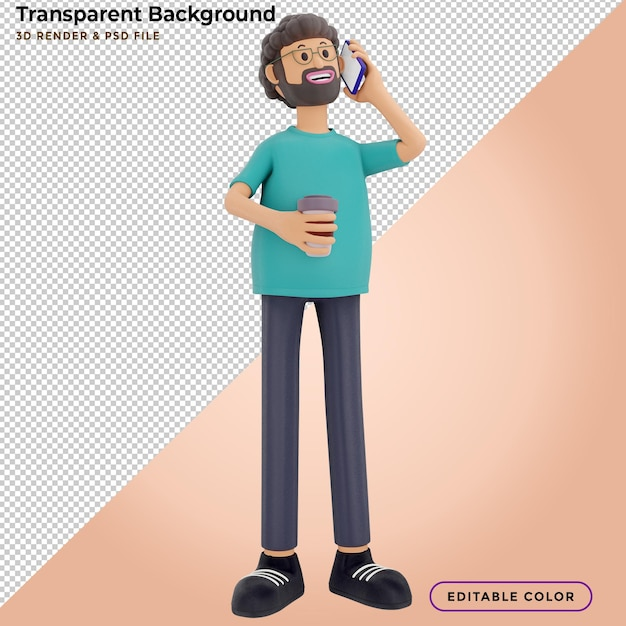 3d male character talking on the phone with drinking coffee Premium Psd