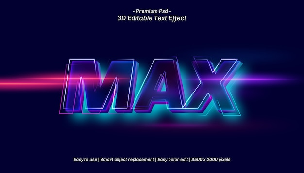3d max editable text effect Premium Psd