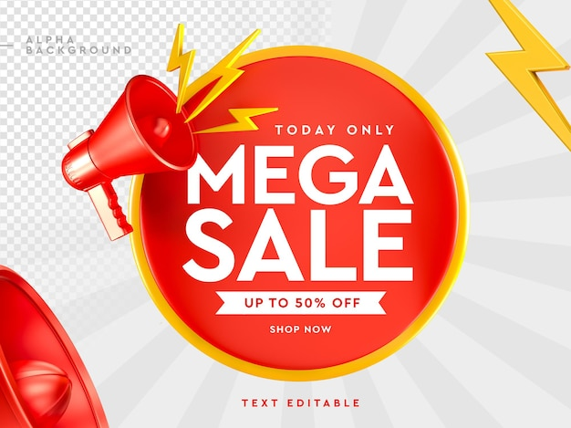 3d mega sale logo with megaphone in 3d rendering Premium Psd