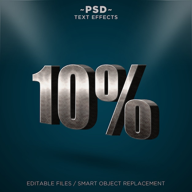 3d metal discount 10% редактируемые текстовые эффекты Premium Psd