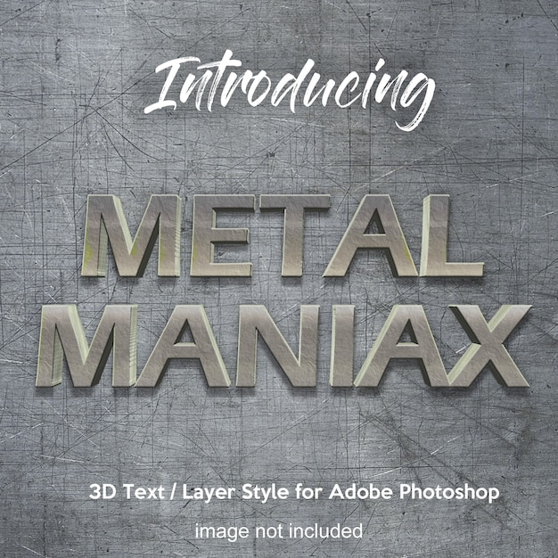 3d metal iron chrome photoshop layer style text effects Premium Psd
