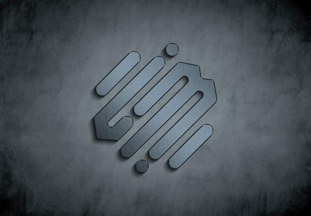 3d металлический логотип на бетонной стене mockup Premium Psd
