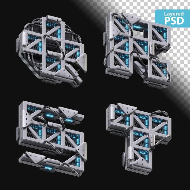 3d металлические буквы q, r, s, t со светящимся эффектом Бесплатные Psd