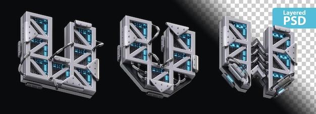 3d металлические буквы u, v, w со светящимся эффектом Бесплатные Psd