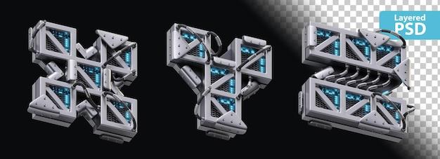 3d металлические буквы x, y, z со светящимся эффектом Бесплатные Psd