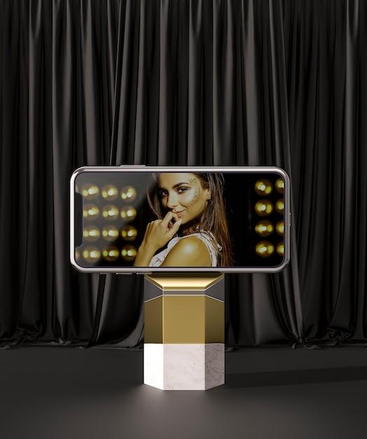 3d 모형 스마트 폰 및 여성 광고 무료 PSD 파일