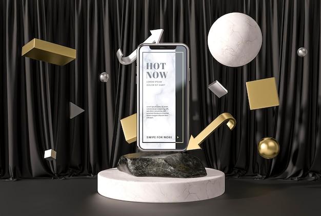 Smartphone del modello 3d su un marmo e su un supporto Psd Gratuite