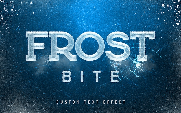 3d mockup frost bite ice font style effect Premium Psd