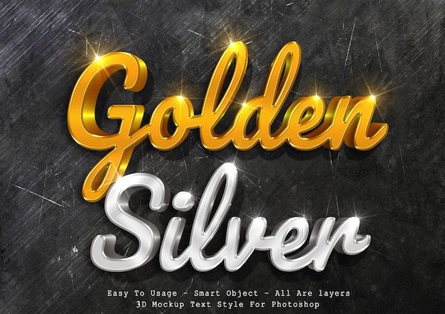 3d mockup gold and silver text style Premium Psd