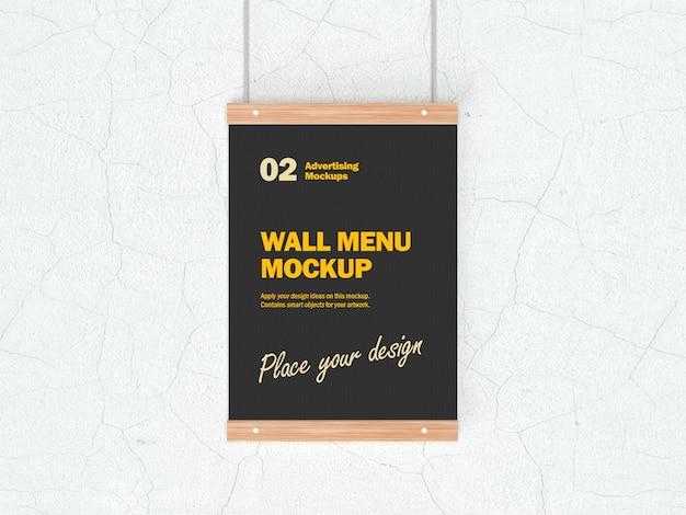 3d mockup of hanging food menu for restaurants Premium Psd