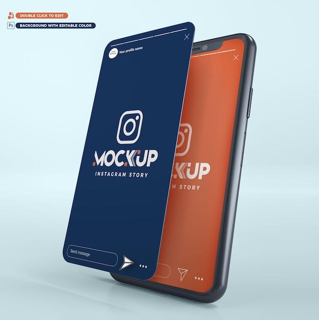 3d 모형 아이폰 인스 타 그램 스토리 프리미엄 PSD 파일