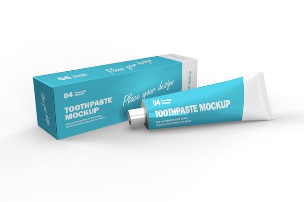 3d макет коробки зубной пасты и тюбик Premium Psd