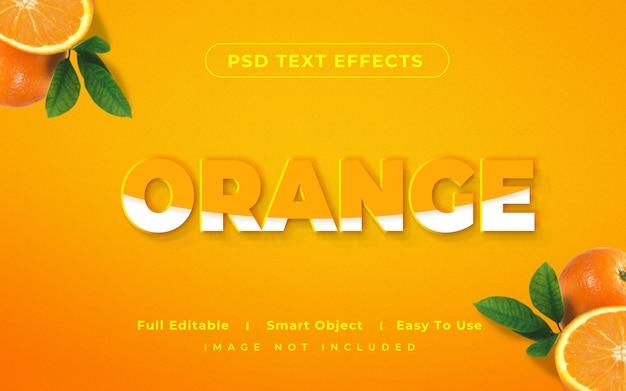 3d 이랑 오렌지 텍스트 스타일 효과 프리미엄 PSD 파일