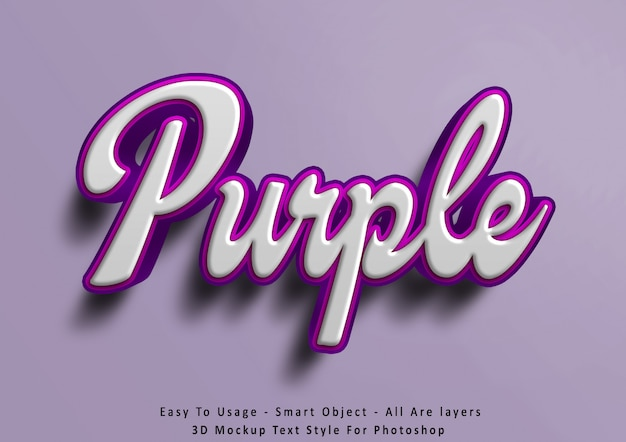 3d mockup purple text style effect Premium Psd
