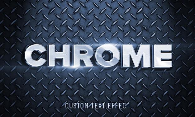 3dモックアップ光沢のあるクロムフォントスタイルの効果 Premium Psd