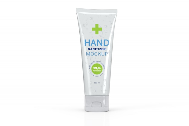 3d mockup of transparent tube for hand sanitizer Premium Psd