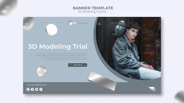 3d modeling course banner template Free Psd