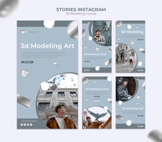 3d modeling course instagram stories Free Psd