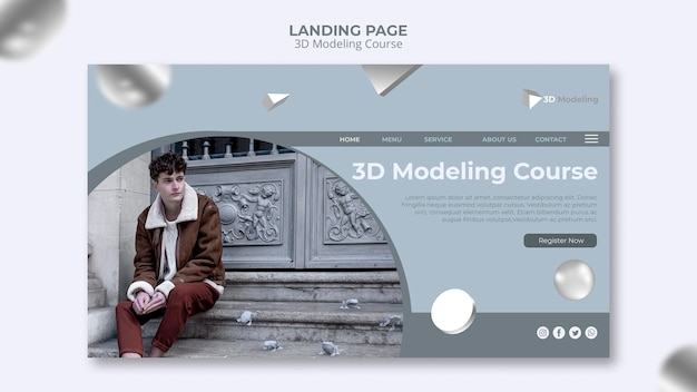 3d modeling course landing page design Free Psd