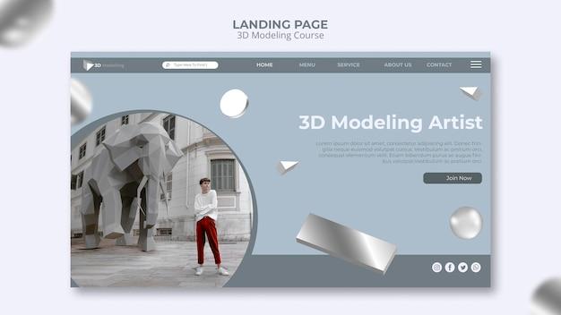 3d modeling course landing page template Free Psd