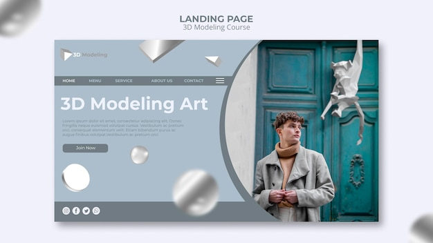 3d modeling course landing page Free Psd