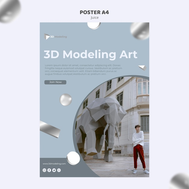 3d modeling course poster design Free Psd