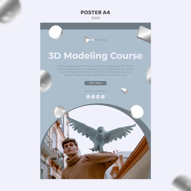 3d modeling course poster style Free Psd