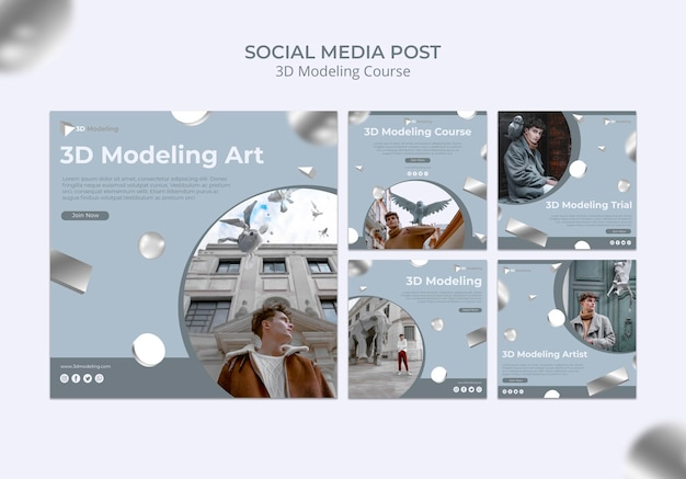 3d modeling course social media post Free Psd