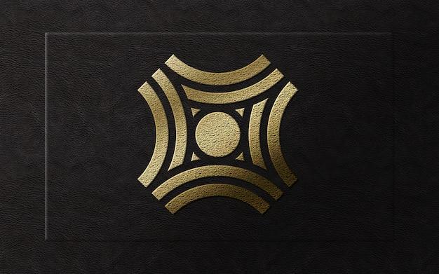 가죽 이랑에 3d 현대 금박 럭셔리 로고 프리미엄 PSD 파일