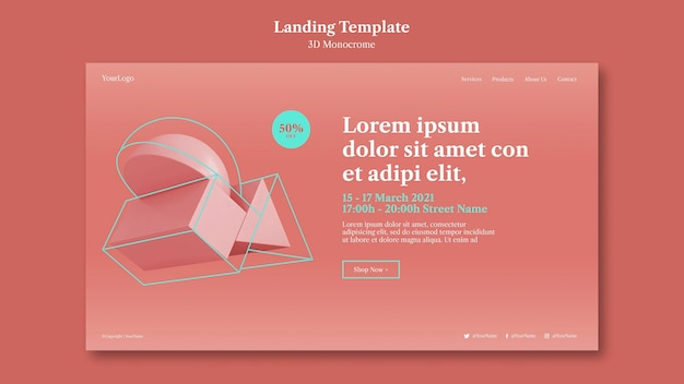 3d monochrome shapes landing page Free Psd