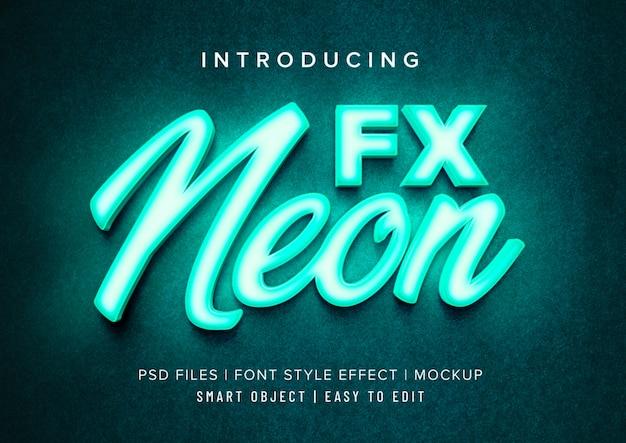 3d neon font style effect mockup