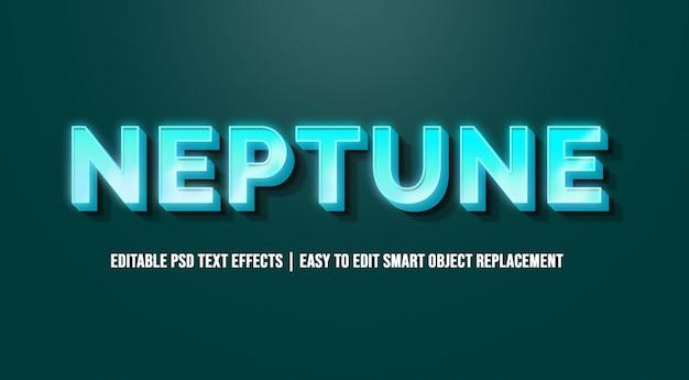 3dブルーテキストエフェクトのneptune Premium Psd