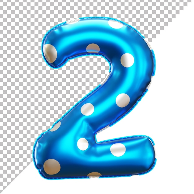 3d number 2 polka dots helium foil balloon Premium Psd