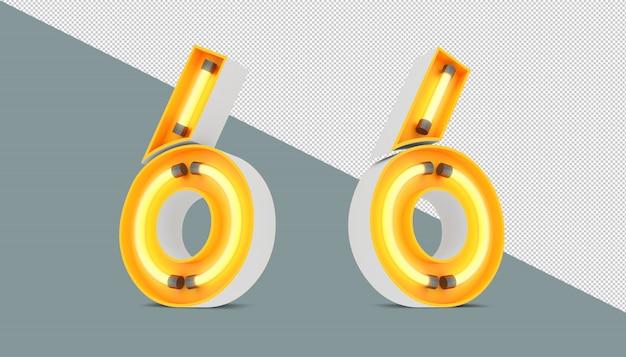 ネオンとネオンライト効果の3d番号 Premium Psd