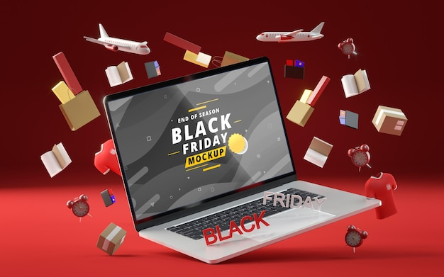 3d objects and laptop for black friday on red background Free Psd