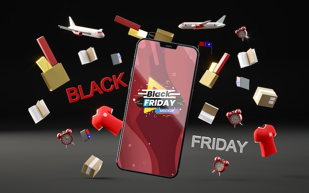 3d objects and phone for black friday on black background Free Psd