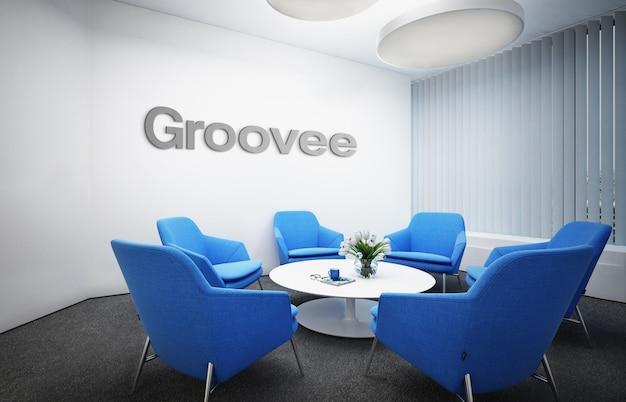 シンプルなクラシックビジネス屋内ワークスペースでの灰色の3d officeロゴのモックアップ Premium Psd