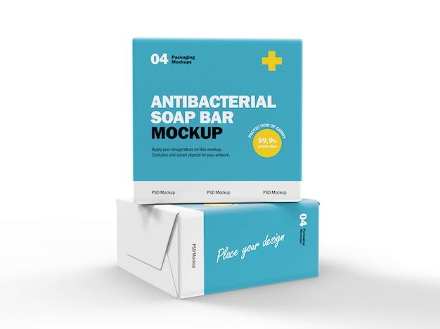 3d дизайн упаковки макет антибактериальных мыльниц Premium Psd