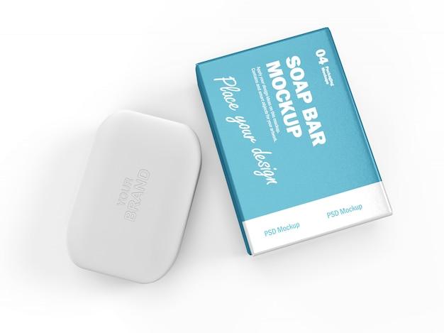 3d дизайн упаковки макет прямоугольного мыла и коробки Premium Psd