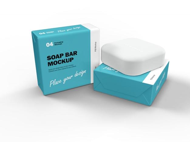 3d дизайн упаковки макет квадратного мыла и две коробки Premium Psd